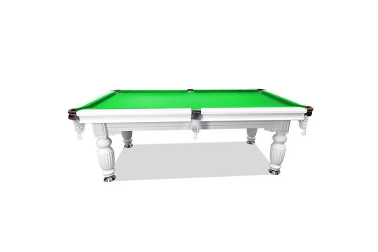 7FT Luxury Slate Pool Table Solid Timber Billiard Table Professional Snooker Game Table with Accessories Pack,White Frame / Green Felt