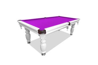 8FT Luxury Slate Pool Table Solid Timber Billiard Table Professional Snooker Game Table with Accessories Pack,White Frame / Purple Felt
