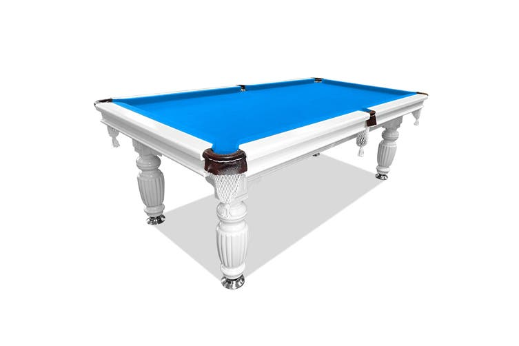 8FT Luxury Slate Pool Table Solid Timber Billiard Table Professional Snooker Game Table with Accessories Pack,White Frame / Blue Felt