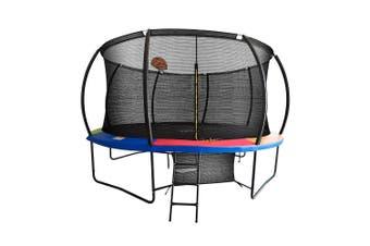 Pop Master 12FT Curved Trampoline w/ Basketball Hoop Ladder Kids Children Outdoor