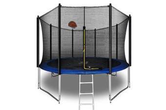 Pop Master 12FT Flat Trampoline w/ Basketball Hoop Ladder Kids Children Outdoor