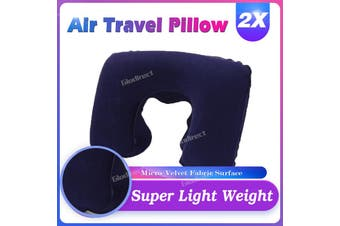 2pcs Inflatable Airplane Flight Travel Neck Support Pillow Scarf Cushion Head NAVY