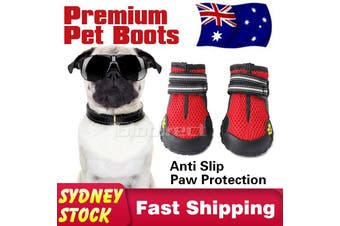 Pet Dog Puppy Shoes Boots Cat Anti Slip Paw Protective Waterproof Anti-Slip RED