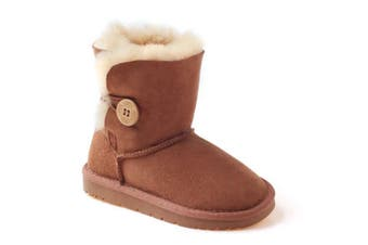 Kids Ugg Button Boots Chestnut