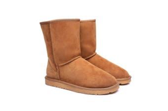 EVER UGG Short Classic Unisex Australia Premium Double Face Sheepskin Water Resistant Boots Chestnut / AU Ladies 5 / AU Men 3 / EU 36