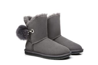 Australian Shepherd UGG Boots Ladies Short Pom Pom Blakely Grey / AU Ladies 5 / AU Men 3 / EU 36