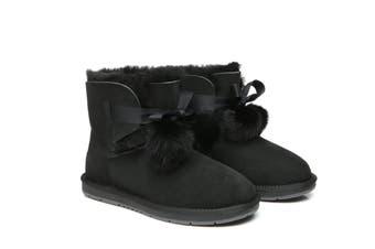 UGG Australian Shepherd Ladies Mini Boots with Ribbon Pom Pom Gia #15664 Black