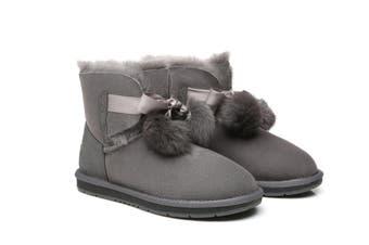 UGG Australian Shepherd Ladies Mini Boots with Ribbon Pom Pom Gia #15664 Grey