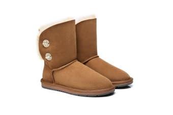 Australian Shepherd UGG Boots Metal Turn Button with Crystal Short Layton,Diamond Boots #15561 Chestnut