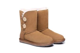 AS UGG Twin Buttons Short Boots Chestnut / AU Ladies 4 / AU Men 2 / EU 35