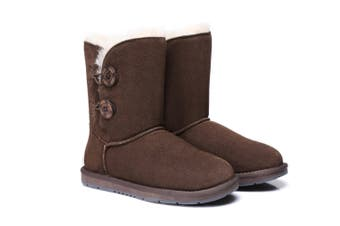 AS UGG Twin Buttons Short Boots #15562 Chocolate