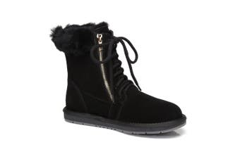 AS UGG Front Lace Zip Women Short Boots Black
