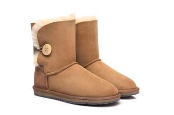 AS UGG Boots Australia Premium Double Face Sheepskin Short Button,Water Resistant #15802 Chestnut