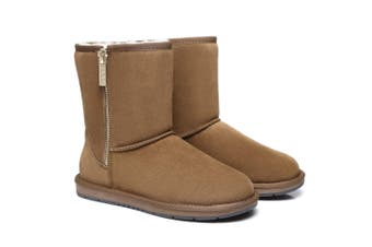 AS UGG Boots Short Zipper Chestnut / AU Ladies 7 / AU Men 5 / EU 38