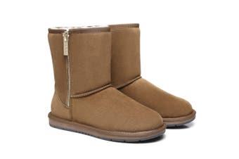 AS UGG Boots Short Zipper Chestnut / AU Ladies 9 / AU Men 7 / EU 40