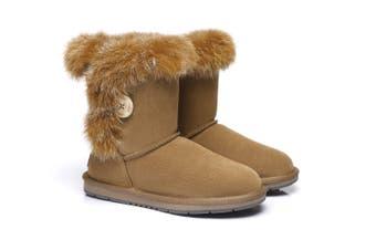 AS UGG Short Button Boots Donna #521009 Chestnut