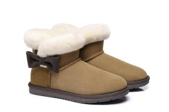 AS UGG Boots Mini Side Bow Carlin Chestnut