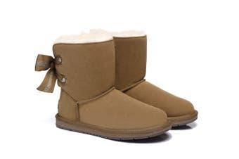 AS UGG Short Boots Basia with Bailey Bow Chestnut / AU Ladies 6 / AU Men 4 / EU 37