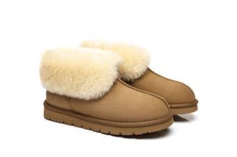 UGG Slippers, Australia Premium Double Face Sheepskin,Unisex Mallow Slipper #513004 Chestnut