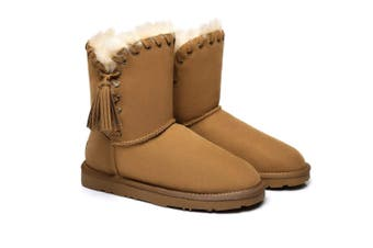 Ever UGG Ladies Tassel Short Boots Carlin #321017 Chestnut / AU Ladies 6 / AU Men 4 / EU 37