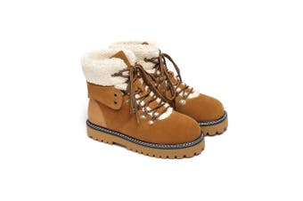 Ever UGG Ladies Leather Lace-up boots Nala #321023 Chestnut