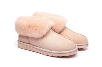 UGG Slippers, Australia Premium Double Face Sheepskin,Unisex Mallow Slipper #513004 Pink