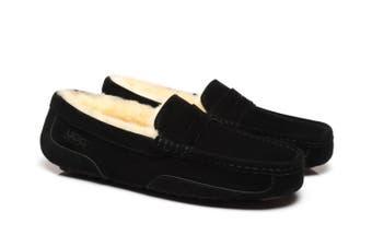 AS UGG Mens Fashion Moccasin Black