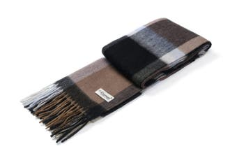 Ever UGG Wool Plaid Scarf Caramel Brown / One Size