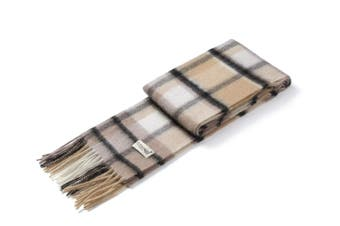 Ever UGG Wool Plaid Scarf Apricot Beige / One Size