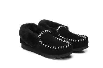 UGG Slippers,Australia Premium Sheepskin,Unisex Popo Moccasins Black / AU Ladies 12 / AU Men 10 / EU 43