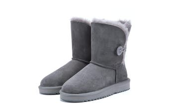 UGG Express Selected Fashion Short Button UGG Boots Grey / AU Ladies 11 / AU Men 9 / EU 42