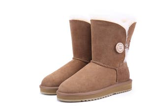 UGG Express Selected Fashion Short Button UGG Boots Chestnut