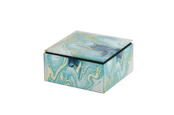 Agate Glass Trinket Box Jewellery Storage Container Square 13 x 13cm