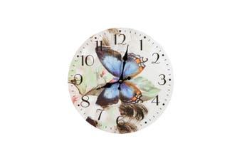 34cm Blue Butterflies Wall Clock