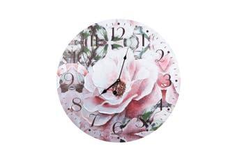 Large 58cm White & Blush Flower Hanging Wall Clock