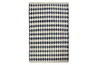 Casa Regalo Woven Cotton 60 x 90cm Diamond Blue & White Rug