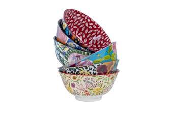 Cooper & Co Set of 6 Floral Ceramic Bowls Small  Microwave dishwasher freezer safe
