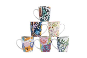 Cooper & Co Set of 6 Floral Ceramic Coffee Mugs Microwave dishwasher freezer safe