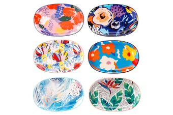 Cooper & Co. Set of 6 Ceramic Garden Lifestyle Plates 23 x 15cm Microwave Dishwahser Safe
