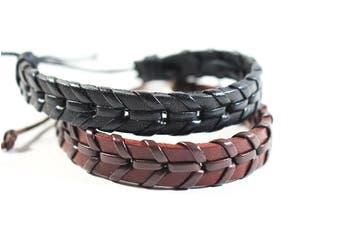 URBANBOGAN Dapper D2 Leather Bracelet Set