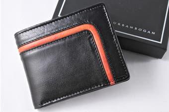 URBANBOGAN Red Tron Men's Executive Black Leather Wallet