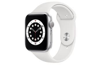 Apple Watch Series 6 GPS 44mm Silver Aluminium Case with White Sport Band