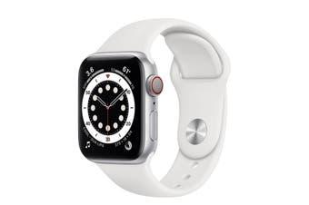 Apple Watch Series 6 GPS + Cellular 40mm Silver Aluminium Case White Sport Band