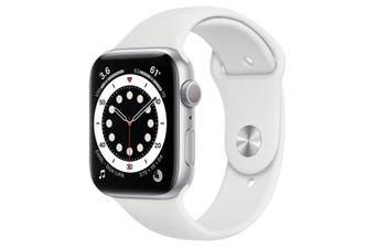 Apple Watch Series 6 GPS + Cellular 44mm Silver Aluminium Case White Sport Band