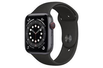 Apple Watch Series 6 GPS + Cellular 44mm Space Grey Aluminium Case Black Sport
