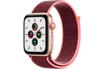 Apple Watch SE GPS + Cellular 44mm Gold Aluminium Case with Plum Sport Loop