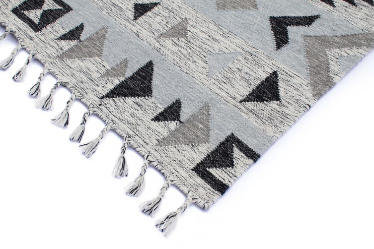 Artifact Silver Hand Made Flat Weave Rug - 160 x 230cms