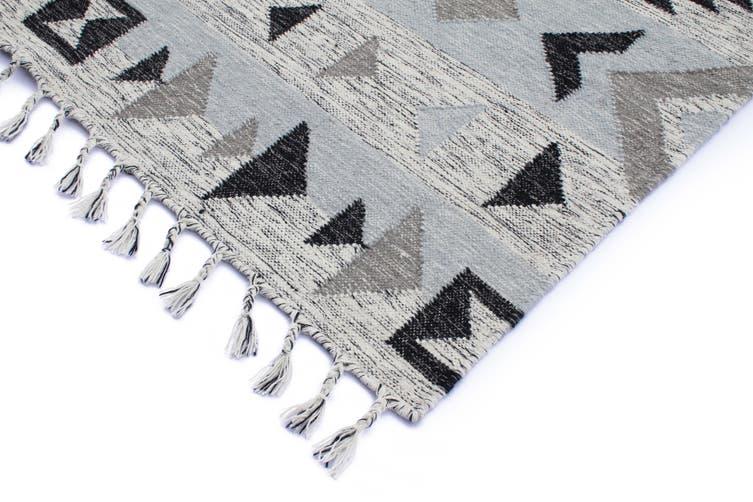 Artifact Silver Hand Made Flat Weave Rug -190 x 280cms