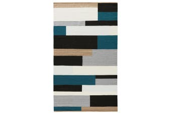 Teal Black Handmade Flat-Weave Rug