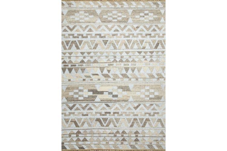 Soft Gray Handmade Flat-Weave Rug
